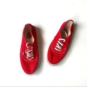 Vans Red Lo Pro Lace up Round Toe Sneakers